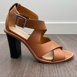 Loeffler Randall Evie Stacked Heel Sandals Tan 7.5